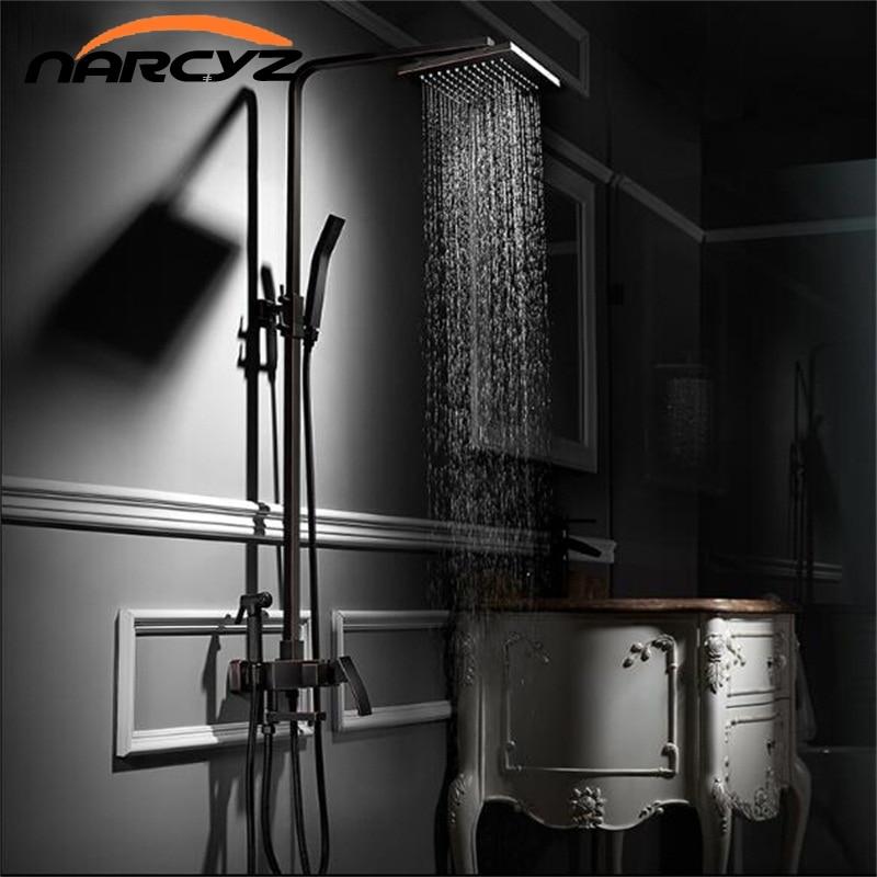 Shower Faucets Brass Black Bathtub Faucet Square Tube Single Handle Top Rain Shower With Slide Bar