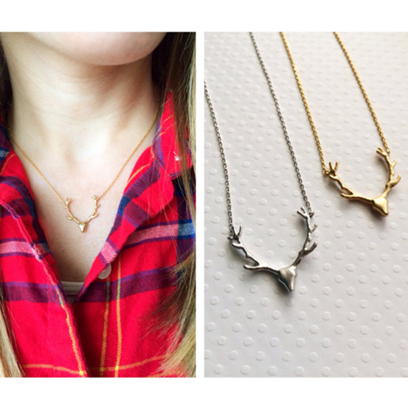 Deer Antler Necklaces Dainty Silver Deer Jewelry Hunting Necklace For Femme Jewelry Kolye Collier Graduation Christmas Gift 2018