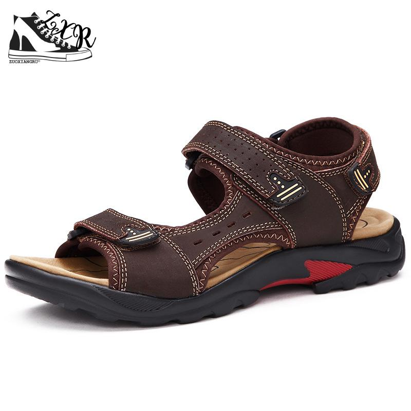 Top Quality Mens Sandals Leisure Genuine Leather Summer Cool Light Weight Beach Casual Shoes Handmade Stitching