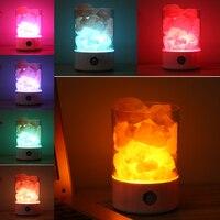 Led Night Light Crystal Salt Lamp Bedroom Table Lamp USB Power Air Ionizer Purifier Desk Light