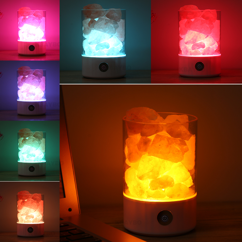 Led Night Light Crystal Salt Lamp Bedroom Table Lamp USB Power Air Ionizer Purifier Desk Light For Home Decor Valentine's Gifts remote control led light creative monje smart air purifier wireless night lights sensor lamps gift table desk lamp