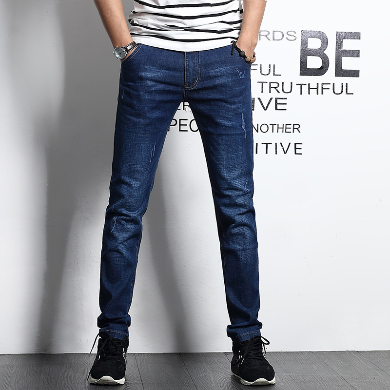 Icpans Jeans Men Classic Business Casual Straight Slim Fit Blue Jeans Stretch Denim Pants Trousers 2018 Spring Thin section