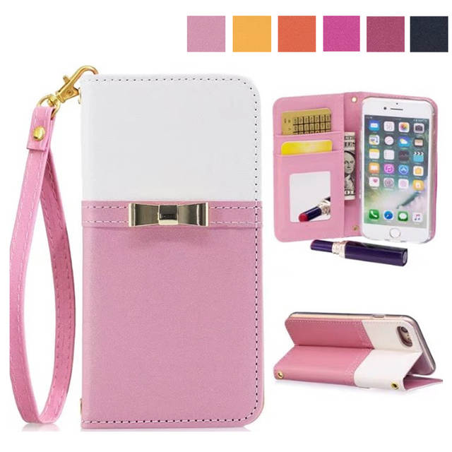 3242c6562 Bowknot Wallet Phone Case For iPhone 6 7 6S 8 X Women Leather Case Cover  For iPhone X 7 6 6S 8 Plus Mirror Case Accessories-in Wallet Cases from  Cellphones ...