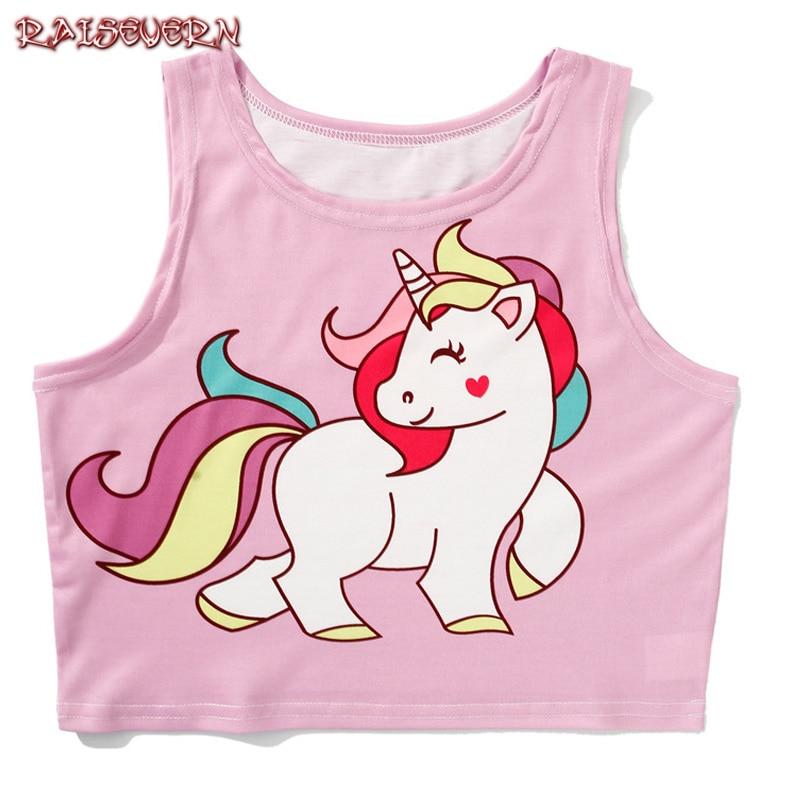 RAISEVERN Summer Tops Women Kawaii Cartoon Rainbow Unicorn Crop Top Sexy Sleeveless Garment BlueTank Top Female Sweet Short Tops