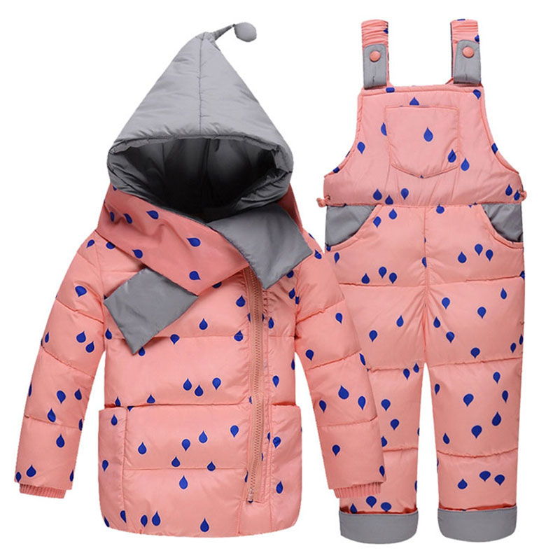 Children's Snow Hooded Coats Winter Warm Outerwear Newborns Girl Boys Down Cotton Jackets +Pant+Scarf Child Kids Clothing Sets 2017girl down jackets coats for winter warm baby girl down outerwear