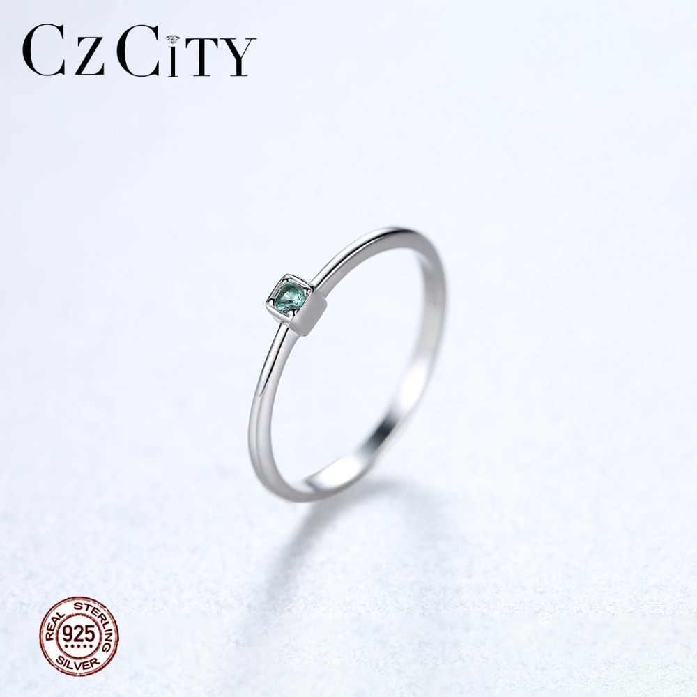 CZCITY натуральная 925 пробы серебро VVS зеленый топаз обручальные кольца для Для женщин минималистский тонкий круг драгоценные камни ювелирные изделия, резьба S925