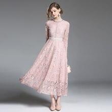 efba012d66 Różowy koronki suknie balowe wysokiej jakości długie rękawy kostki długość  Vestido De Festa frezowanie talia vestidos de gala ne.