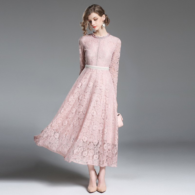 Pink Lace   Prom     Dresses   High Quality Long Sleeves Ankle-Length Vestido De Festa Beading Waist vestidos de gala largos elegantes
