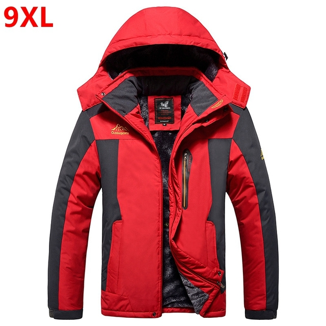fa50d3b7d0d 9XL Winter jackets pourpoint XL Plus size windproof coat Waterproof Fleece  thickening Big yards Warmth thick