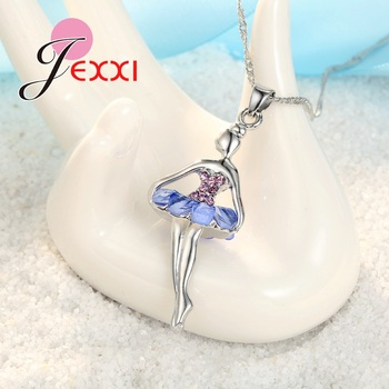 Beautiful Ballet Dancing Girl With Colorful Cubic Zircon Dress 925 Sterling Silver Color Fashion Jewelry Set  1