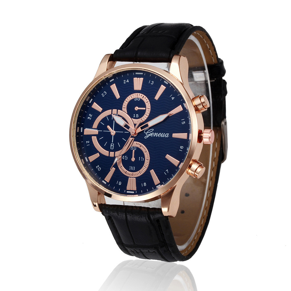 Men watches top brand luxury geneva watch chronograph pu leather band retro design analog quartz for Watches geneva