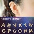 Новая Мода Роуз Позолоченные Micro Pave AAA Топ CZ Diamond Начальной Английский Строчные Буквы Серьги-Гвоздики Украшения для Женщин