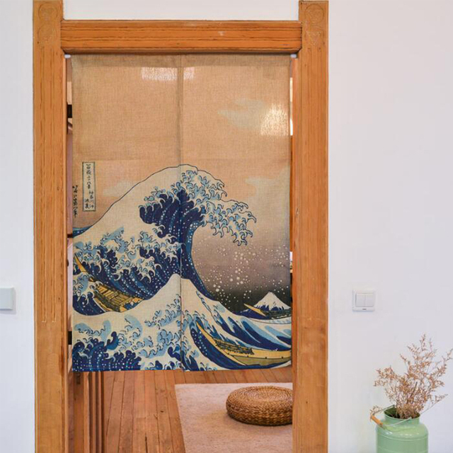 Japanese Door Valance Linen Cotton Waves Printed Short Curtains for Living Room Creative Kitchen Door Curtains & Japanese Door Valance Linen Cotton Waves Printed Short Curtains for ...
