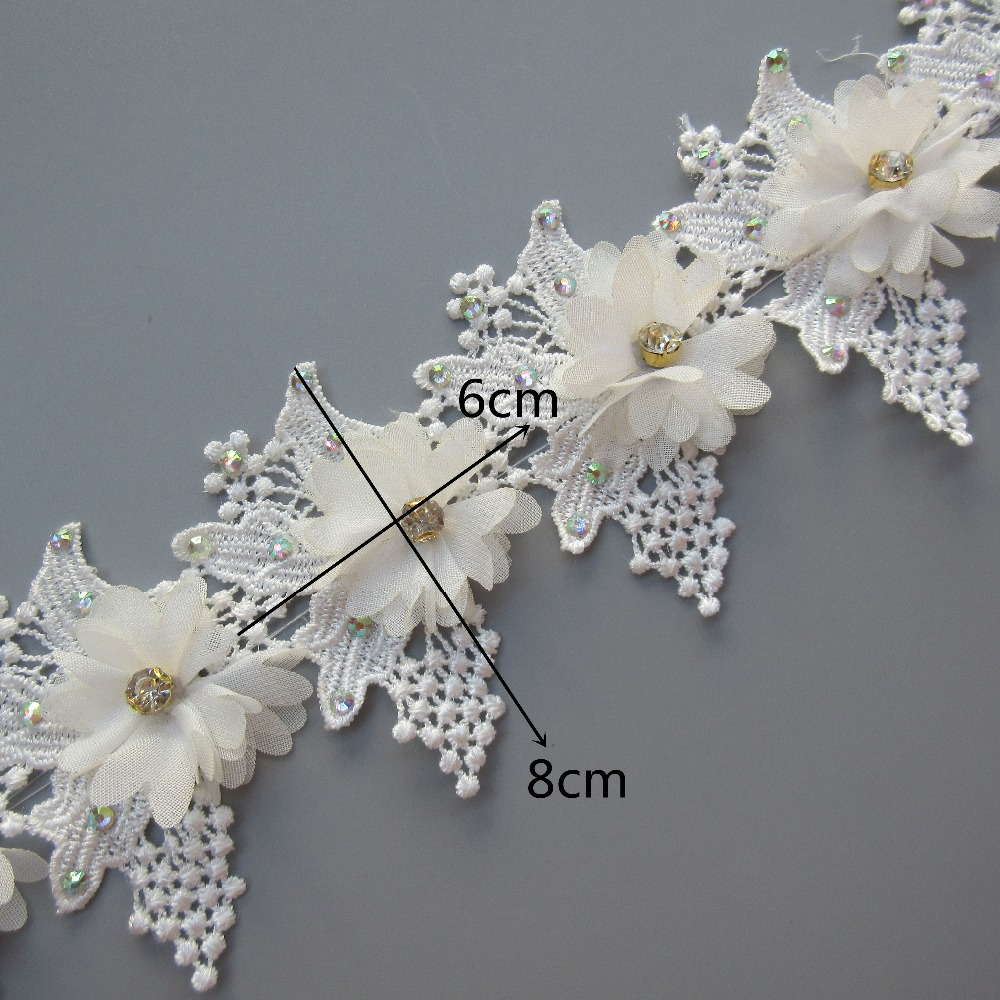 Metre 45mm White Embroidered Tulle Scallop Edge Flower Lace Ribbon Trim