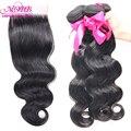 Cabelo virgem peruano com fecho de onda do corpo do cabelo humano não processado 4 pacotes com lace closure cabelo peruano virgem com fecho