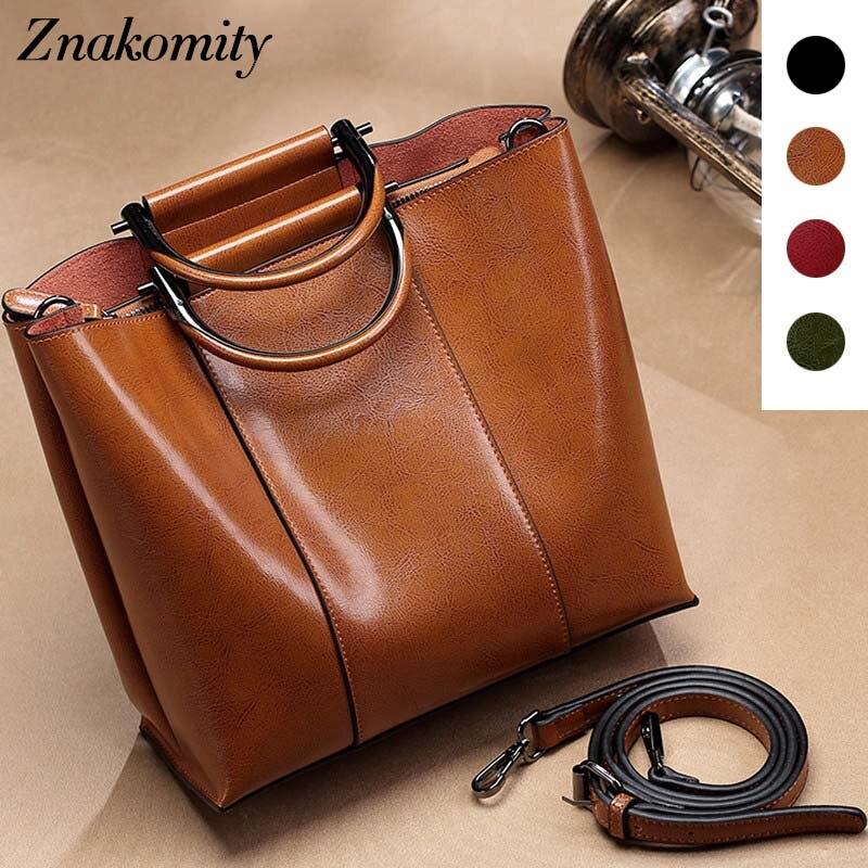 Znakomity Casual vintage handbags women s genuine leather shoulder bag Retro real leather hand bag woman