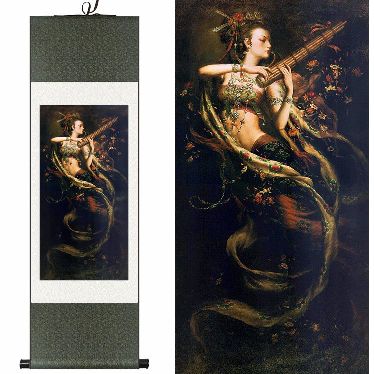 Chinois soie aquarelle Portrait Figure beauté fée volante encre impression art toile mur photo damassé encadré défilement peinture cadeau