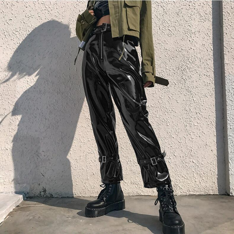 Pu Faux Leather   Pants   Women Patchwork Belt Punk High Waist Trousers Ladies Shiny Streetwear Casual   Pants     Capris   2019