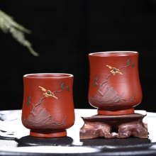 Flower and bird's Master Cup Kung Fu tea set in Yixing Raw ore purple sand cup Handmade