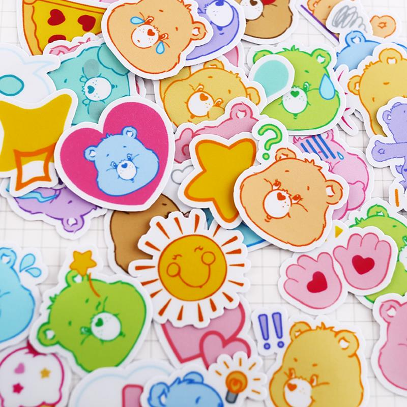40pcs/pack New Hot Sale Rainbow Bear Care Bears Decor Stickers Scrapbooking Stick Label Diary Album Stickers Classic Toy Gift