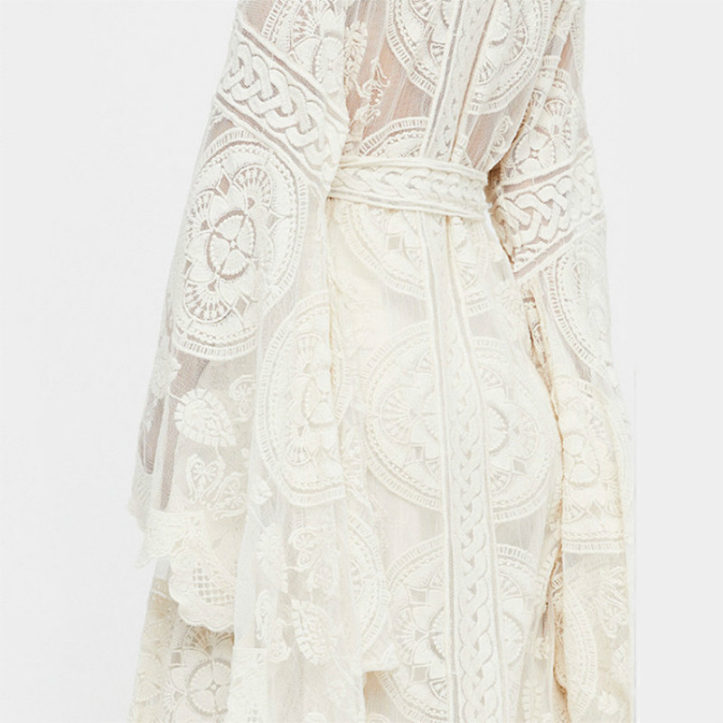 Ruoru Kimono Boho Summer Holiday Beach Cover Lace Tops Bell Sleeve Hollow Out Kimono Long See Though White Kimono Jacket in Blouses amp Shirts from Women 39 s Clothing
