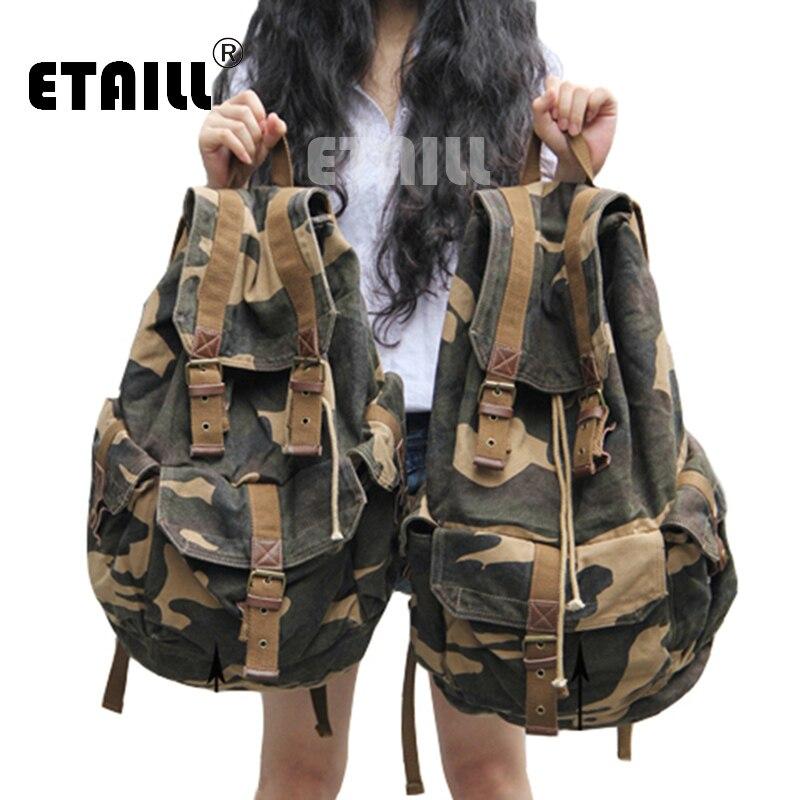 วินเทจหนังทหารพรางผ้าใบผู้ชายกระเป๋าเป้สะพายหลังโรงเรียนถุงกระเป๋าเป้สะพายหลังยี่ห้อ2016 B Agpack R Ucksackรถตู้Mochila E Scolar-ใน กระเป๋าเป้ จาก สัมภาระและกระเป๋า บน   1