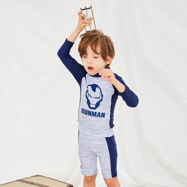 Boy's Cartoon Long Sleeve Beachwear Anti-UV Swim Wear