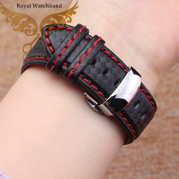 Watch band 18mm 20mm 22mm 24mm Popular Red Stitching Carbon Fiber Fabric Replacement Genuine Leather Watchb