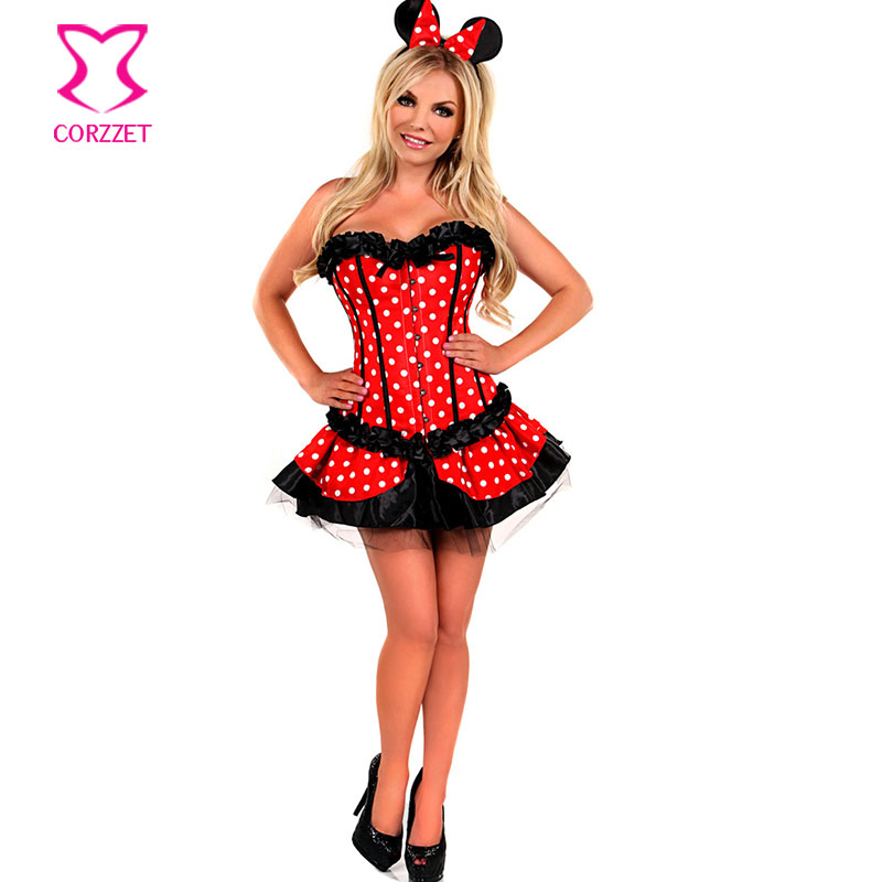 Lolita Rosso / Bianco Polka Dot Fancy Corset Dress Mouse Mascot Anime Cosplay Costume Carnevale Donna Adulto Costumi Sexy Halloween