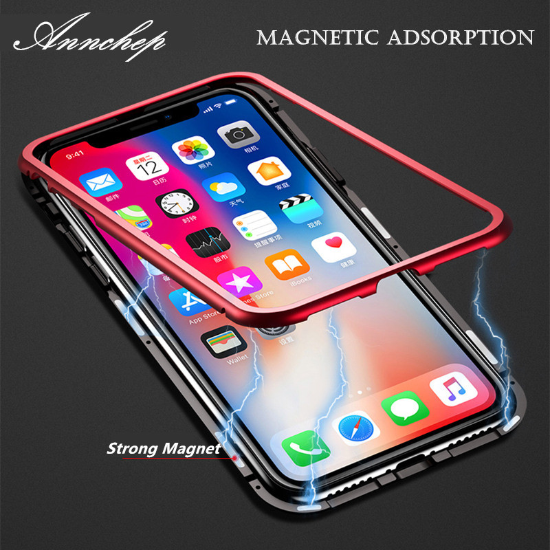 Annchep Magneto Magnetic Adsorption Metal Flip Luxury Phone Case for Iphone X Iphone 7 8 For Samsung S8 S8+ S9 S9+ Plus Coque