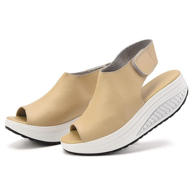 Novas Mulheres Da Moda Sandálias Para A Primavera & Verão Peep Toes de Couro Lazer PU Roma Estilo Cunhas Sandálias Calçados Femininos l157 35