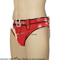 Red With Black Trims Sexy Latex Briefs With Belts Rubber Boy Shorts Underpants Underwear Briefs DK 0105