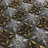 3D старинные тиснением смолы из золотистого металла смеси щитка мозаика настенная плитка, Ванная комната Кухня камин Декор Meshback, lsrn05