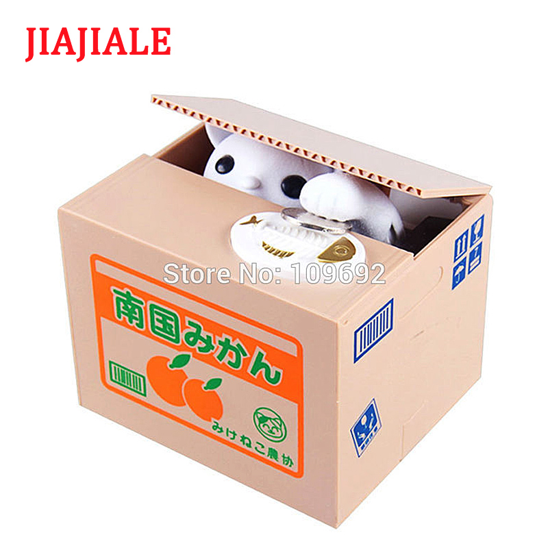 JIAJIALE  Steal Money Mischief Bank Piggy Bank Cat Automatic Electric Stole Coin Piggy Bank Penny Saving Box Gifts Kids Toys