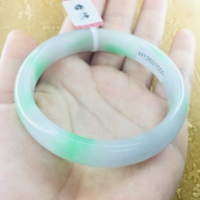 Send a certificate Natural Jadeite Bracelet Small fresh apple green two color 54 61mm female jade bracelet Jewelry gift