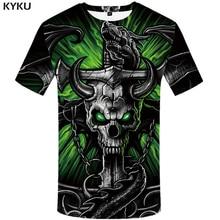 KYKU Brand Skull T shirt Women Gothic Tshirt Iron Chain 3d T-shirt Punk Shirts Hip Hop Clothing Clothes Womens Rock стоимость