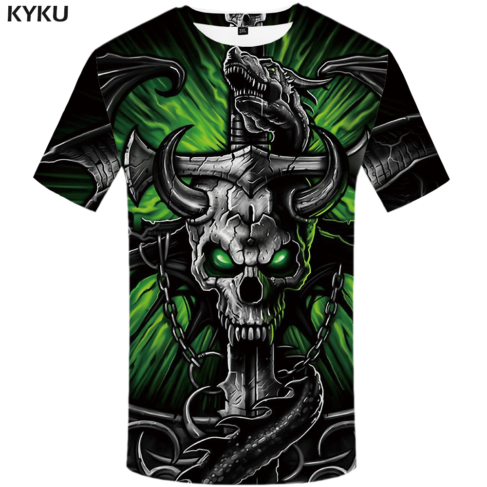 KYKU Brand Skull T shirt Women Gothic Tshirt Iron Chain 3d T-shirt Punk Shirts Hip Hop Clothing Clothes Womens Rock