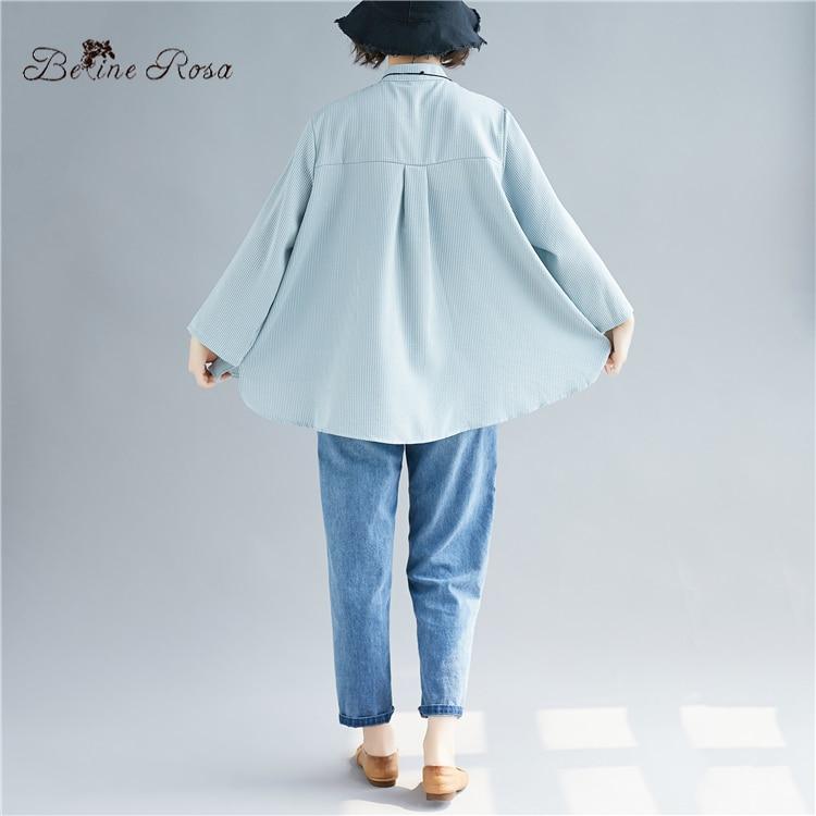 Las Belinerosa pink Plus L Estilo De 2019 Collar 3xlbsdm0195 ~ Puro Para Rayas Blue Mujer Blusas Tamaño Blusa Mujeres Simple Color xgIrngq