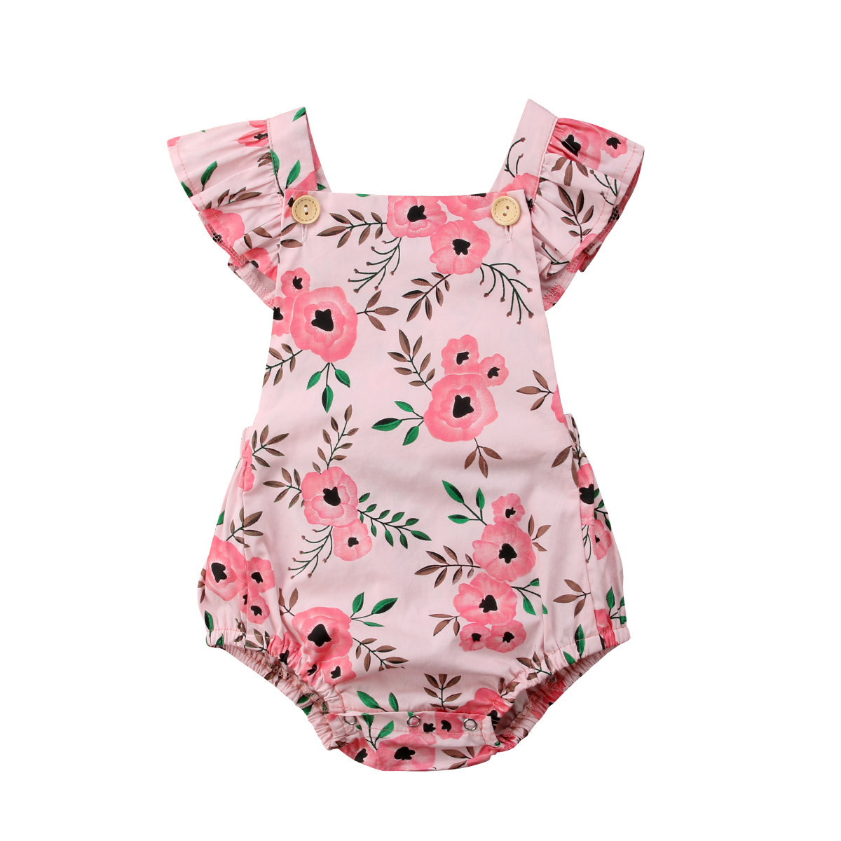 Newborn Infant Toddle Baby Girls Floral Sleeveless Jumpsuit Bodysuit Sunsuit Overall Casual Cute Clothes Baby Girl 0-24M