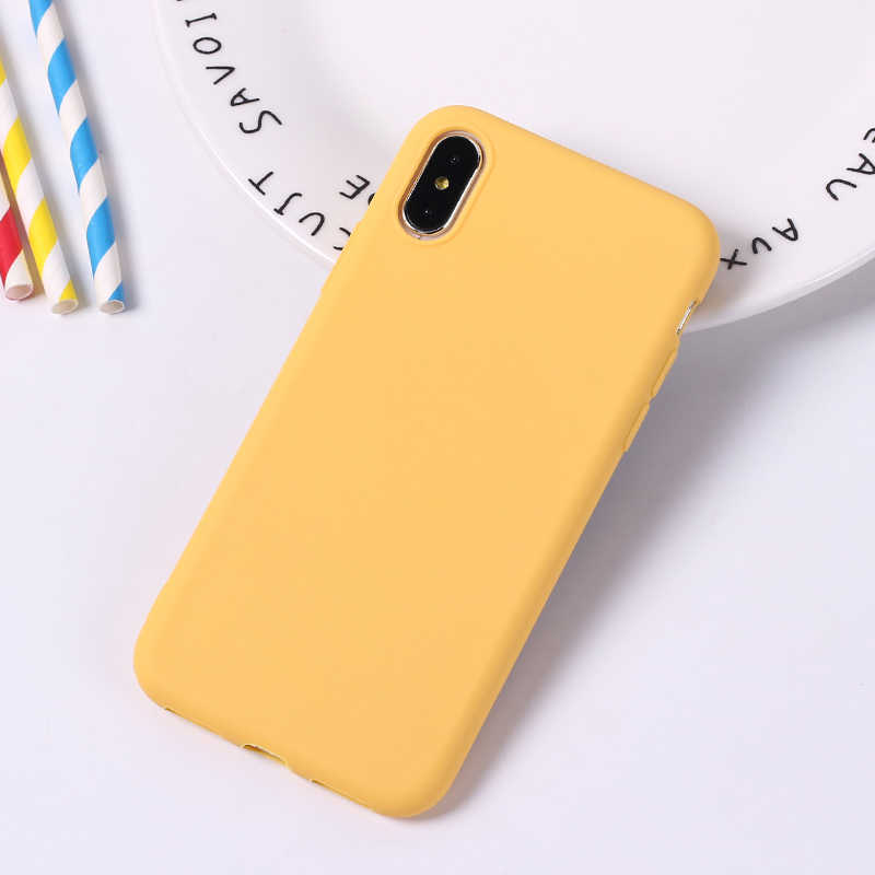 Ponsel Case untuk iPhone 6 6 S 7 7 Plus X XR X Max 5 5 S WordArt Bahagia Polos kuning Lembut Pelindung Ponsel Menutupi Belakang Case Coque Tas