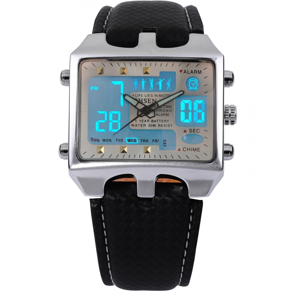 Подробнее о Brand New OHSEN Rectangle Dial Digital Dual Time LCD Mens Date Alarm Stopwatch Analog Quartz Sport Leather Wrist Watch / OHS034 weide dual time zone analog quartz stainless steel wrist watch date alarm stopwatch display waterproof new luxury big dial clock