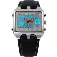 Brand New OHSEN Rectangle Dial Digital Dual Time LCD Mens Date Alarm Stopwatch Analog Quartz Sport Leather Wrist Watch / OHS034