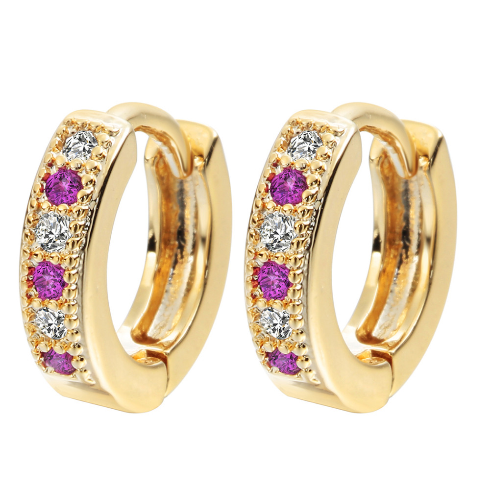 Kinitial New Hoop Earring Charm Colorful Classic Baby CC Earring Cubic Zirconia Earring For Baby Teen Girls Jewelry A1174 1