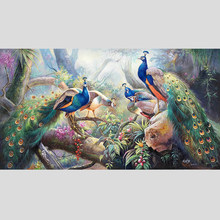 100% Hand Painted Peacocks High-quality Art Painting On Canvas Wall Art Wall Painting Adornment picture For live room Home Decor(China)