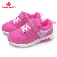 FLAMINGO LED Children Shoes Orthotic Leather Insoles Breathable Spring Kids Girl Sneaker Size 25-31 free shipping 91K-NQ-1260(China)