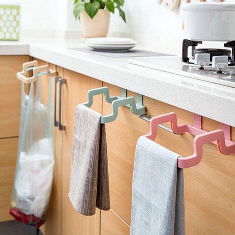 Garbage Bag Support Bracket Household Cabinet Rear Rag Hanging Rack Trash Can Holder Eco-Friendly Kitchen Door Back