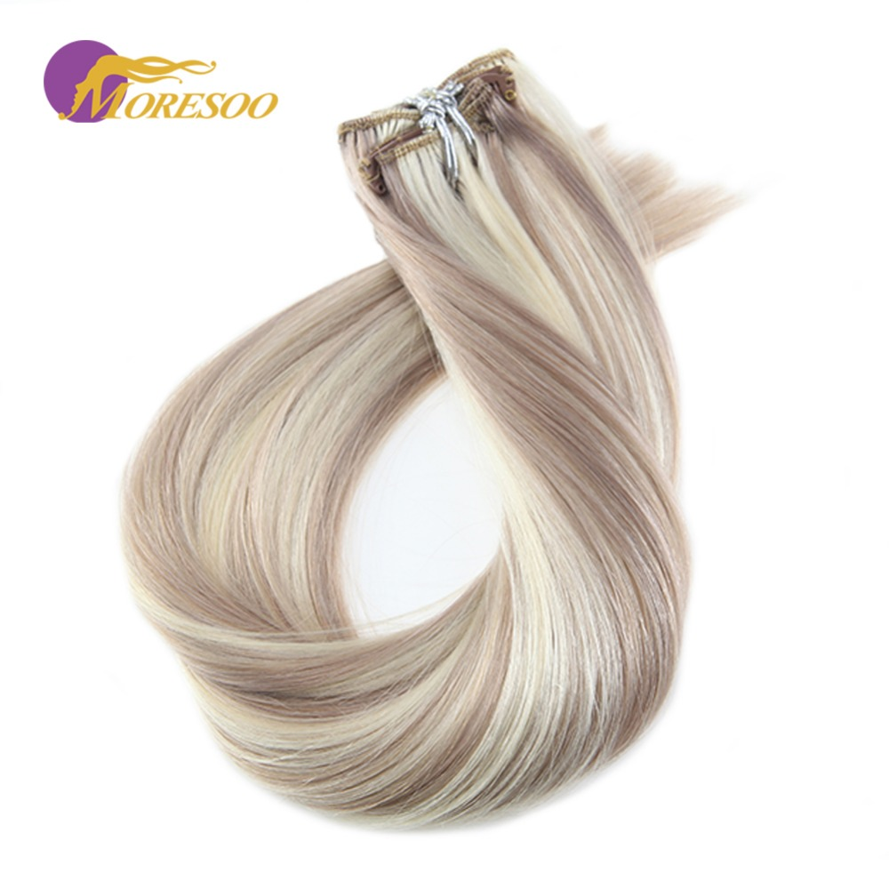 Moresoo 16-24 Inch Clip In Hair Extensions Real Remy Human Hair Extensions Light Set Half Full Head Hair 6Pcs 50G
