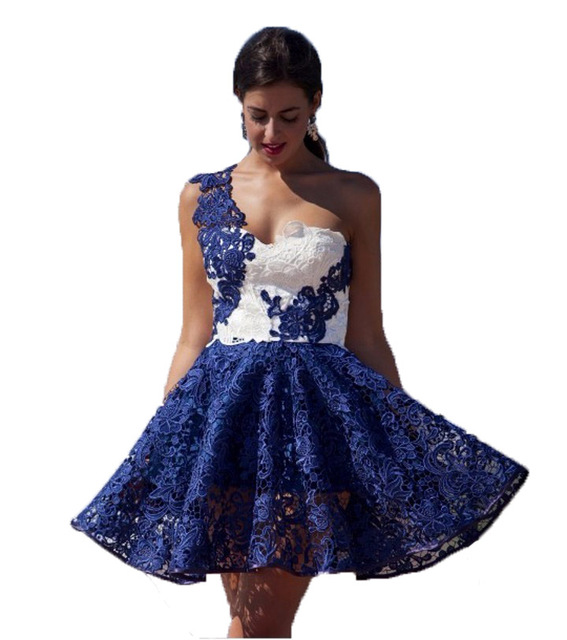 ca6f95866b3e 2017 navy blue homecoming dresses short lace one shoulder 8th grade prom  dresses plus size homecoming dresses white vestidos