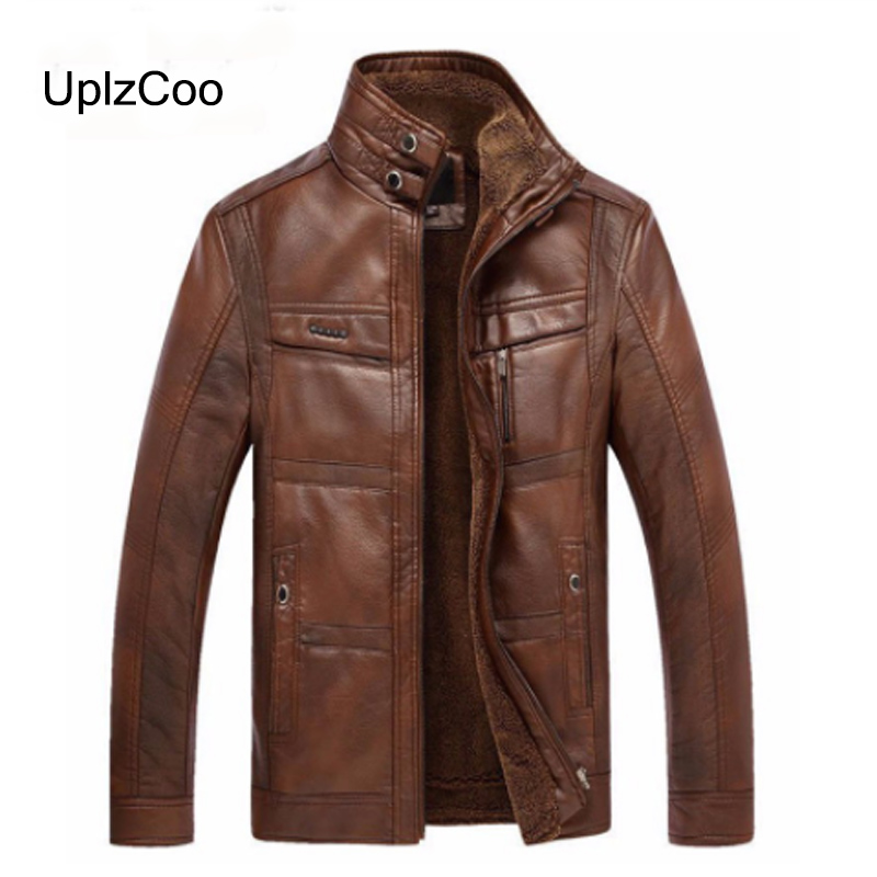 UplzCoo 2019 Autumn And Winter New Men's Leather Jacket Coat Thick Warm PU Outwear Men's Business Faux Fur Wool Jacket 3XL FM109(China)