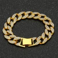 Men S Luxury Rhinestone Fashion Bracelets Bangles High Quality Gold Color Iced Out Miami Cuban Bracelet